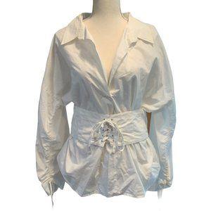 NWT William Rast Olivia Poplin Blouse In Marshmallow Size XL